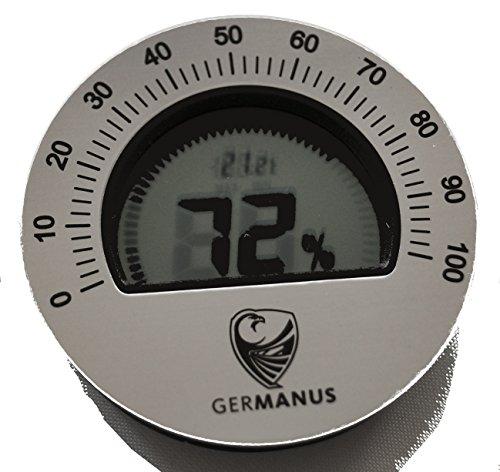 GERMANUS Humidor Hygrometer, Kalibrierbar, Digital, Rund