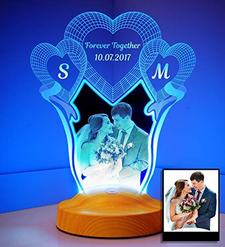Fotogeschenk Hochzeit Valentinstag Geschenke Lampe Personalisierbar mit eigenem Foto und Text in 3D Bilder Led Motiv Lampe gravieren (Hochzeit)