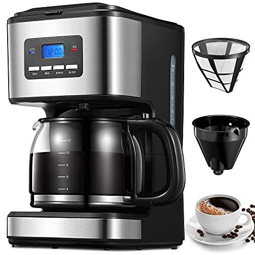 Cafetera de Goteo, 1.8 Litros Cafetera de Filtro, Temporizador Programable de 24 Horas, Mantener Caliente Durante 40 Minutos,...
