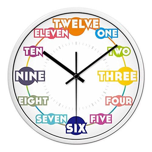 reloj de pared.Reloj de pared Reloj de metal Alfabeto inglés Oficina en el aula Sala de entrenamiento en inglés gráfico de pared silencio mudo reloj de pared, 12 pulgadas, aguja negra caja blanca
