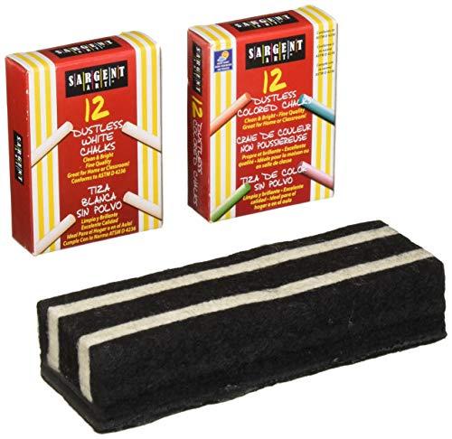 Sargent Non-Toxic White Dustless Chalk (12 ct box) and Colored Dustless Chalk (12 ct box) Bundle + Premium Chalkboard Eraser