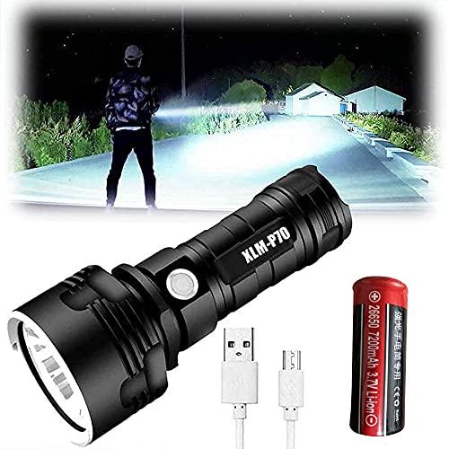 Linterna de bolsillo impermeable LED alta, ultra luminosa, 3 modos de linterna recargable USB XLM-L2 25 W LED (25 W XLM-L2, 1 batería de litio)