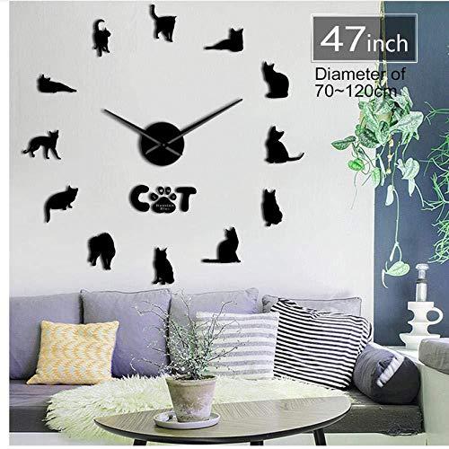DIY horloge murale X Griffe poupée Chat 3D miroir horloge murale Quartz chaton horloge Salon décoration Taille réglable muet Tafel mur