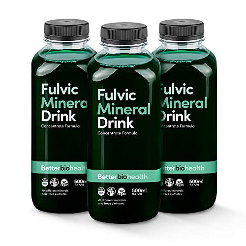 BetterBio Health Fulvic Mineral Concentrate 500ml, 32 Servings, Better Absorption, Fast Acting Colloidal Mineral Liquid Formula, 70+ Minerals (Triple Pack)