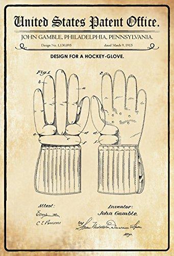 Tin Sign 30 x 20 cm U.S. Patent Office - Ontwerp voor een Hockey Handschoen (John Gamble) 1915