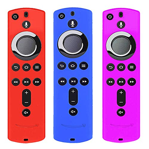 [3 Pack] Silicone Cover Case for TV Firestick 4K / TV (3rd Gen) Compatible with All-New 2nd Gen Remote Control (Red Blue and Purple)