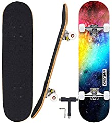 """Width: 8"""". Length: 31"""". Wheelbase: 15.7"""". Super smooth 55x40mm 95A PU wheels with ABEC-7 precision bearings and PU bushings This deck provides overall very mild concave, while the medium-sized wheel wells create ideal foot pockets for manuals and sta..."""