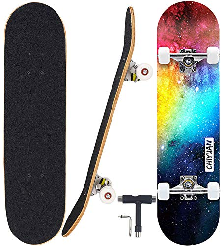 "Geelife Skateboard 7 Layers Decks 31""x8"" Pro Complete Skate Board Maple Wood Longboards for Teens Adults Beginners Girls Boys Kids (Nebulae)"
