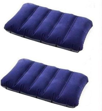 Hemiza Velvet Air Inflatable Pillow for Bed Car Yoga Gym Travelling (Multicolour) -Set of 2