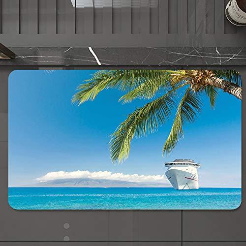 Alfombrilla de Baño Antideslizantes de 50X80 cm,Gran crucero náutico se dirige a la playa tr, Tapete para el Piso Lavable a Máquina con Microfibras Suaves Absorbentes de Agua para Bañera, Ducha y Baño