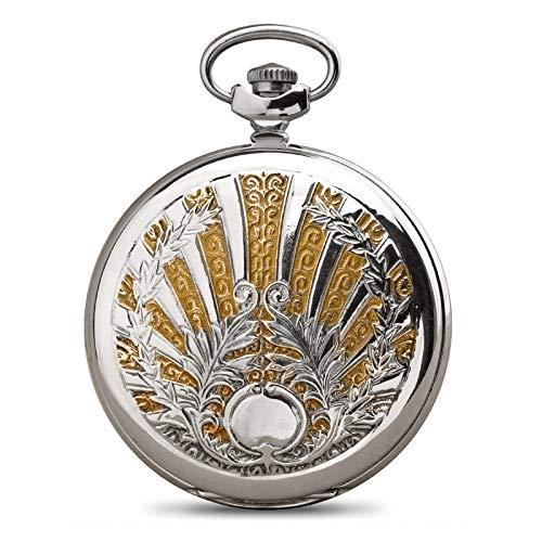 Molnija Taschenuhr 3602 Sonne gebläute Zeiger Floral Muster mechanische russische Uhr Russland