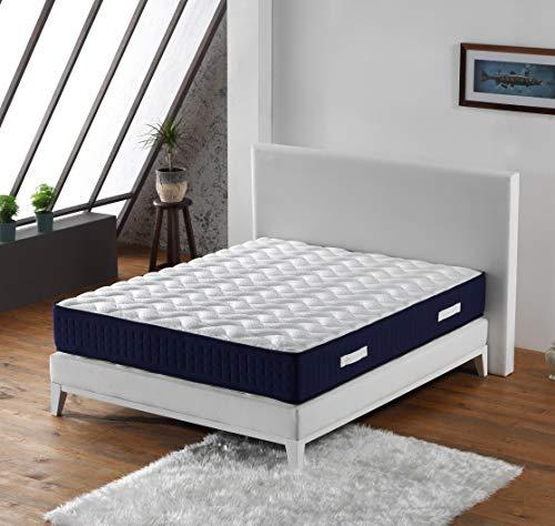 Colchón Benjamin con muelles ensacados + 3,5 cm de látex natural al 70 % en 75 kg/m3 + colchón 140 x 190 cm de altura +/-30,5 cm – Apoyo firme + almohada Visco