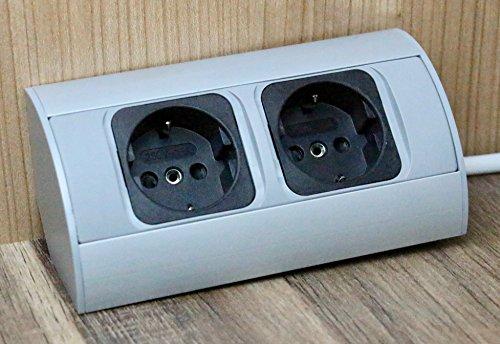 Praktische Eck-Steckdose 2x Schuko, Aluminium, für Küche, Bad, Wohnzimmer, Möbel. Doppelsteckdose ideal für Küchen-Arbeitsplatte als Aufbau-Unterbau-Steckdose. (2 Fach Steckdose)