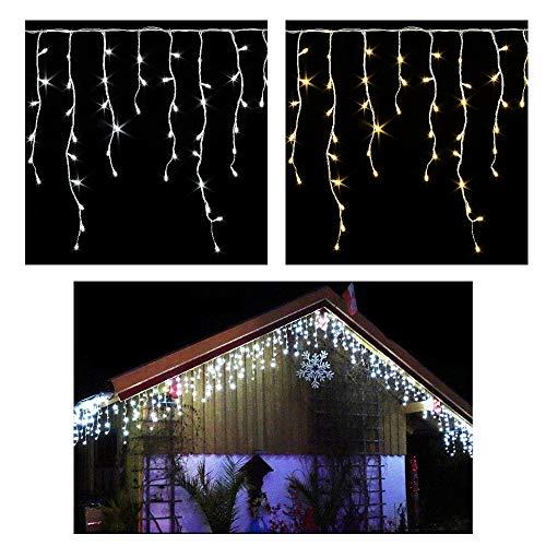 200 LED **Premium** ges.10 Meter~EISREGEN WEIHNACHT-Lichterkette~KALTWEISS-Schnee~EISZAPFEN Effekt~IP44~WEIHNACHTSBELEUCHTUNG~DEKO~WEIHNACHTSDEKO~Wow