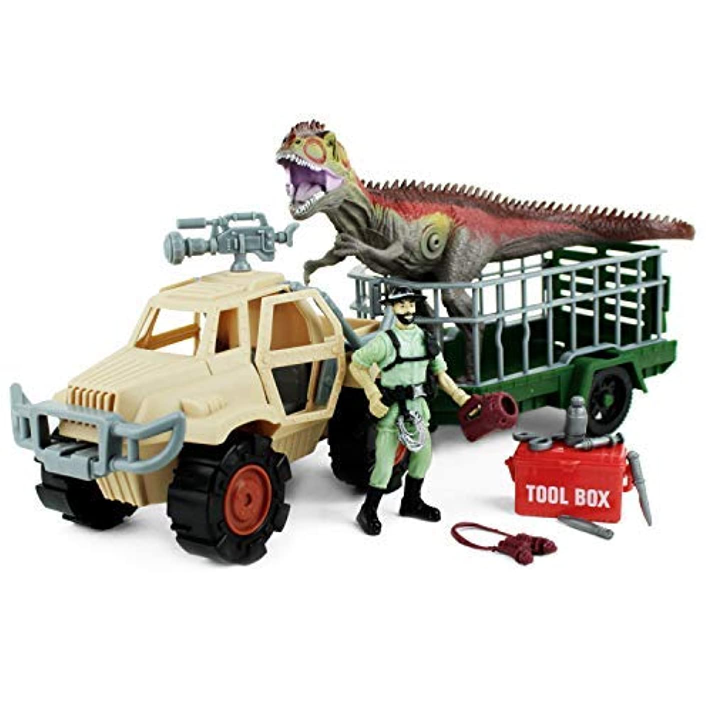Boley Dinosaur Explorer Toy - Includes A Roaring T-Rex Dinosaur, Dinosaur Explorer Figure, Tool Box, and More! - 13 Piece Jurassic Action Playset - Offers Hours of Pretend Play!