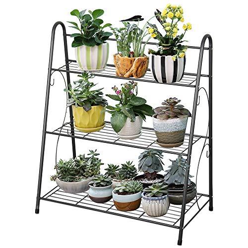JOANNA'S HOME Plant Stand Flower Pot Rack 3 Tier Metal Planter Holder Flower Shelf for Balcony Indoor Outdoor Home Garden Decor Storage