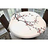 House Decor Polyester Fitted Tablecloth,Cherry Branches Flowers Buds and Birds Asian Style Artwork with Painting Effect Oblong Elastic Edge Fitted Table Cover,Fits Oval Tables 68x48