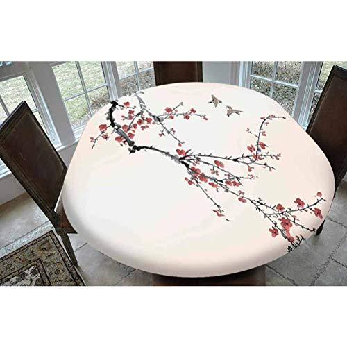 House Decor Polyester Fitted Tablecloth,Cherry Branches Flowers Buds and Birds Asian Style Artwork with Painting Effect Oblong Elastic Edge Fitted Table Cover,Fits Oval Tables 68x48' Black Burgundy