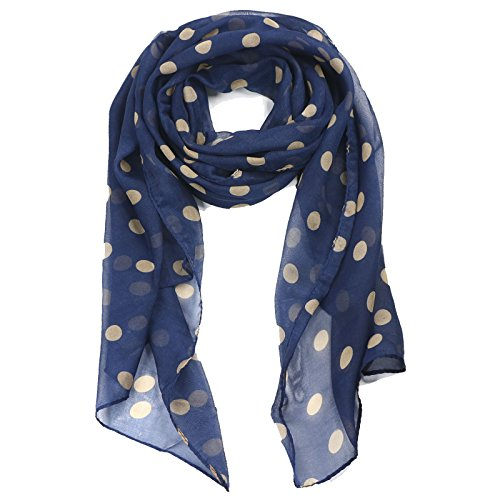 TRIXES Elegante Foulard in Seta a Pois Color Crema su Sfondo Blu Marino