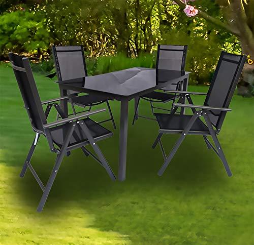 VCM Alu Sitzgruppe 140x80 Schwarzglas Gartenmöbel Gartengarnitur Tisch Stuhl Essgruppe Gartenset Tisch + 4 Stühle: Anthrazit