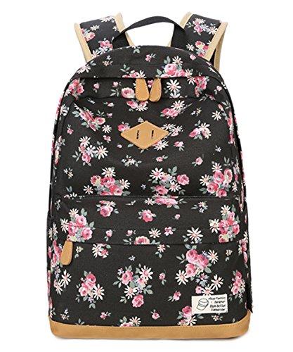 HITOP Vintage Mode Damen Leinwand Einfache Blumen Schultertasche Freizeitrucksack Tasche Rucksäcke (Schwarz)