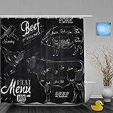 Yhouqukhdeueh Duschvorhang,Kreide Fleisch Menü Steak Kuh Schwein Huhn Vintage Style,Stoff Badezimmer Dekor Set mit Kunststoffhaken, enthalten - 180x180cm