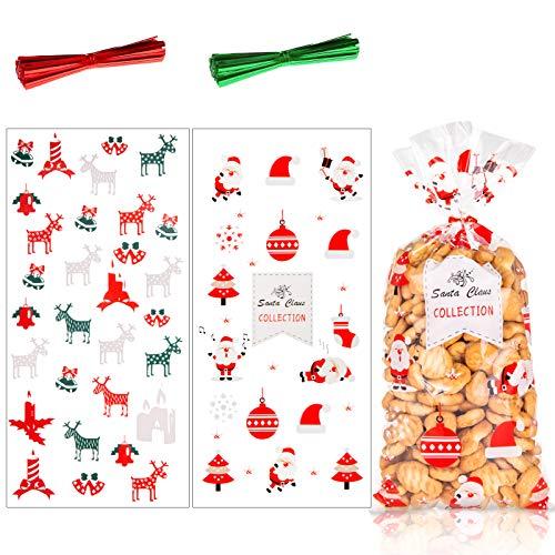 100pcs Bolsas de Celofan Navidad, Bolsas para Chuches Transp