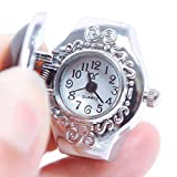 N-K Women Creative Steel Gemstone Elastic Quartz Lady Finger Ring Watch Chic Durable