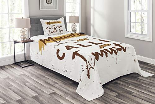 ABAKUHAUS Abenteuer Tagesdecke Set, Ruf der Berge, Set mit Kissenbezügen Sommerdecke, für Einselbetten 170 x 220 cm, Blasser Kaffee Weiß Braun