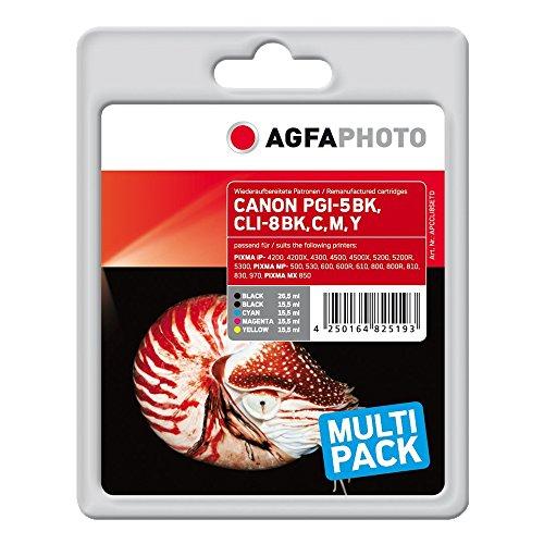 AgfaPhoto APCCLI8SETD MP800 mit Chip PGI-5 BK/CLI-8 BCMY Bonuspack Tintenpatrone für Canon