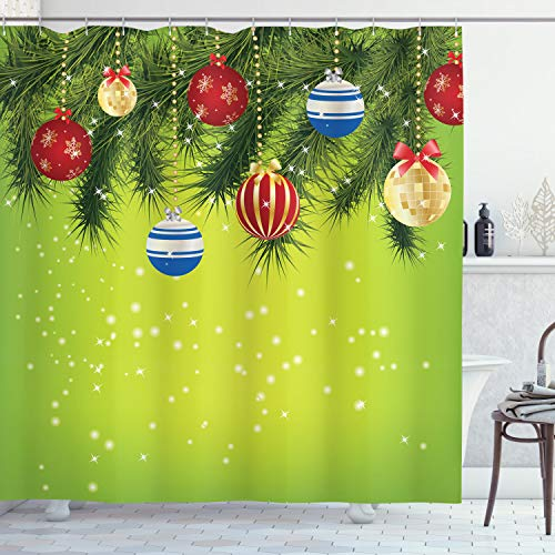 ABAKUHAUS Weihnachten Duschvorhang, Hängende Verzierungen, Bakterie Schimmel Resistent inkl. 12 Haken Waschbar Stielvoller Digitaldruck, 175 x 200 cm, Multicolor