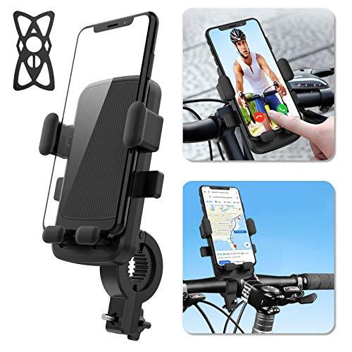 AUCHIKU Handyhalterung Fahrrad, Abnehmbar 360° Verstellbare Handyhalter Motorrad Fahrrad Handyhalterung Outdoor Motorrad Handy Halterung mit elastischen Silikonbändern für 4.7-6.5 Zoll Smartphone