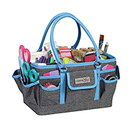 Blue Heather Deluxe Store and Tote – Storage Art Caddy for Sewing & Scrapbooking – Craft Bag Organizer w/Handle for…