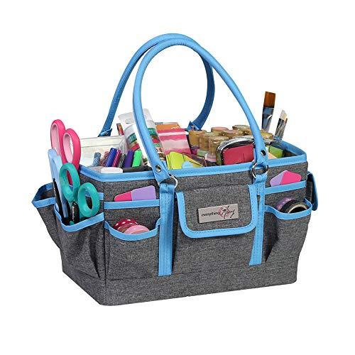 Everything Mary 12701-3 Azul Brezo Deluxe Caddy Tote de Almacenamiento, Organizador de Manualidades de Escritorio