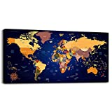 Vintage world map Canvas Art Dark blue Painting Office Wall Art Decor for Living Room Canvas Prints Ready to Hang for Office Hotel Home Decoration Bedroom Large wall Poster Maps picture Artwork