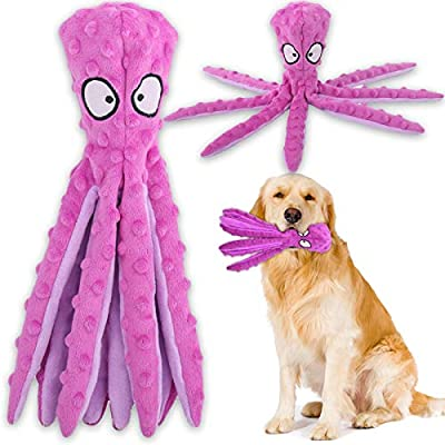 Squeaky Dog Interactive Play Toy,No Stuffing Octopus Dog Chew Toy with Crinkle Paper for Medium and Large Dog Playing (Purple)