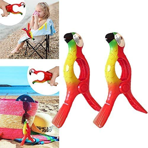 FunMove Parrot Towel Clips Large Novelty Sunbed Beach Pegs Heavy Laundry Clothes Sun bed Lounger For Holiday Chair Pool Pack of 2