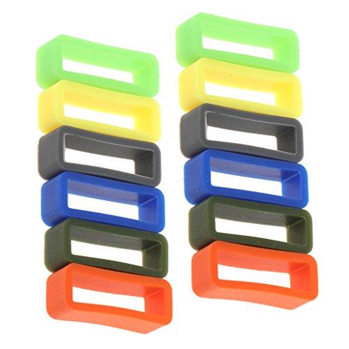 MagiDeal Silicona Bucle Retenedor para Correa de Reloj 12 Piezas - 22 mm