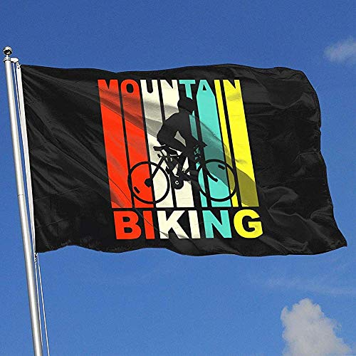 qinzuisp Huis Vlag Vintage 1970S Stijl Mountainbiken 100% Polyester Welkom Tuin Vlag Breeze Vlag Banner Outdoor Design Vakantie Kleurrijke 150X90Cm