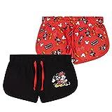 Disney Pantalon Corto Niña, Pack De 2 Pantalones Cortos de Mickey y Minnie Mouse, Ropa Niña de Algodón, Regalos para Niñas 18 Meses-10 Años (Rojo/Negro, 4-5 años)
