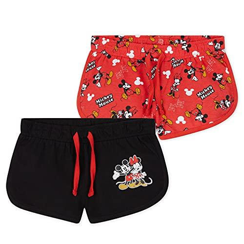 Disney Pantalon Corto Niña, Pack De 2 Pantalones Cortos de Mickey y Minnie Mouse, Ropa Niña de Algodón, Regalos para Niñas 18 Meses-10 Años (Rojo/Negro, 18-24 Meses)