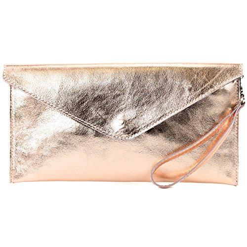 modamoda de- ital. Borsa in pelle Clutch Underarm Bag Borsa da sera in pelle metallizzata M106-151, Colore:M106 rosa oro metallico