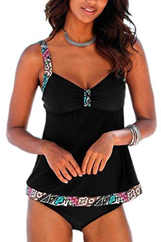 Tankinis Mujer Traje de Baño de Dos Piezas Conjunto Push up Bikini Playa Beachwear Black M