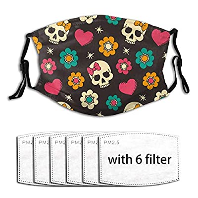Cartoon Skull Background Reusable Activated Carbon Filter Face Shield With 6 Filter Replaceable for Men Women