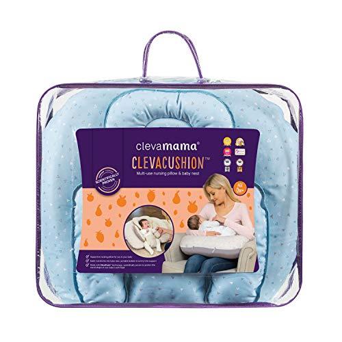 ClevaMama ClevaCushion Cuscino Allattamento Traspirante Neonato, Riduttore Passeggino, Blu Cielo