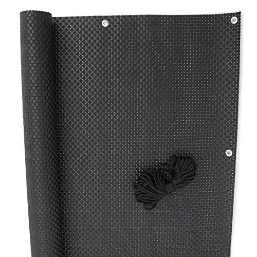 NOOR Balkonblende Exklusiv aus Rattan 0,90 x 3m I Schwarze Sichtschutzmatte mit Ösen für einen sicheren Halt I UV-beständiger Windschutz für Balkone und Terrassen