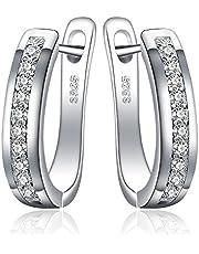 JewelryPalace Eternity Kubisk Zirkoniumoxid Wedding Huggie Hoop Örhängen Channel Set 925 Sterling Silver