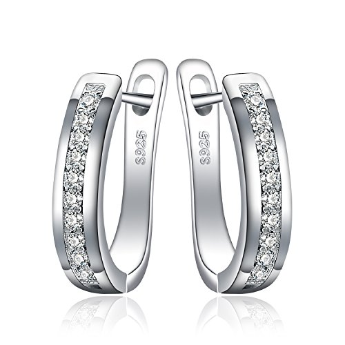JewelryPalace Eternity Zirkonia Hochzeit Huggie Hoop Ohrringe Channel Set 925 Sterling Silber