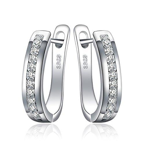JewelryPalace Pendientes de Aro Eternidad Zirconia Cúbica Boda Huggie Con Canal Conjunto Plata de ley 925