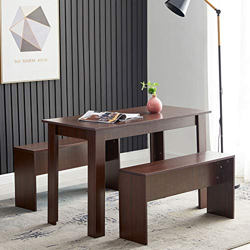 KEEPREAPER Table Set 2 Benches Small Kitchen Dining Room Furniture Modern Style Wood 3 Piece Dining Table Set for Small Spaces (Black Walnut)
